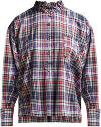 Étoile Isabel Marant Dresden Ruffle Collar Check Shirt - Green