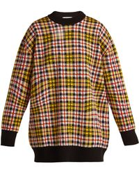 MSGM - Checked Wool Blend Jumper - Lyst