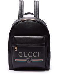 0a9b56f3d7a2 Gucci - Logo Printed Leather Backpack - Lyst