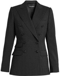Dolce & Gabbana - Polka-dot Print Double-breasted Wool Jacket - Lyst