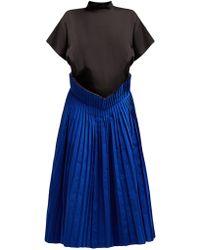 Toga - Pleated Twill And Taffeta Dress - Lyst
