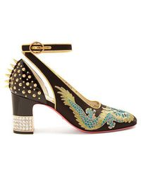 Gucci - Caspar Dragon-embroidered Satin Court Shoes - Lyst