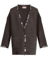 Christopher Kane - Sequin Embellished V Neck Wool Blend Knit Cardigan - Lyst