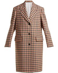 CALVIN KLEIN 205W39NYC - Oversized Checked Wool Coat - Lyst
