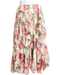 Dolce & Gabbana - Ruffled Floral Print Silk Chiffon Midi Skirt - Lyst