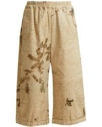 By Walid - Hazy-jungle Print Cotton-canvas Wide-leg Trousers - Lyst