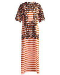 Prada - Baroque-print Striped Cotton T-shirt Dress - Lyst