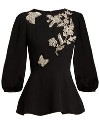 Andrew Gn - Butterfly Beaded Cady Peplum Blouse - Lyst