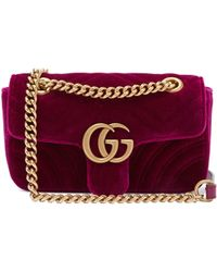 124005036f46 Gucci - Gg Marmont Mini Quilted Velvet Cross Body Bag - Lyst