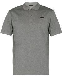 Prada - Logo Appliqué Cotton Piqué Polo Shirt - Lyst