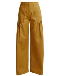 Duro Olowu - - High Rise Wide Leg Cotton Denim Trousers - Womens - Dark Yellow - Lyst