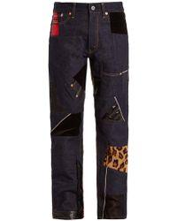 Junya Watanabe - Straight-leg Contrast-panel Cotton-denim Jeans - Lyst