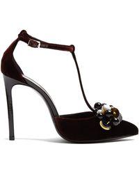 Lanvin - Embellished Velvet Court Shoes - Lyst
