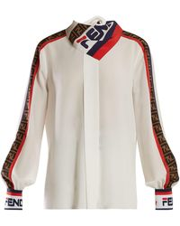 18e81baae2037 Fendi - Mania Logo Print Silk Blouse - Lyst