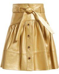 Miu Miu - High-rise Leather Mini Skirt - Lyst