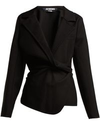 Jacquemus - Veste Baija Double Breasted Drape Wool Jacket - Lyst