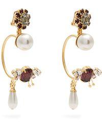 Erdem - Insect Crystal-embellished Clip-on Hoop Earrings - Lyst