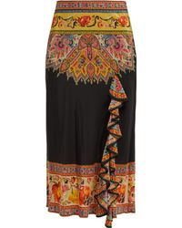Etro - Ruffled Floral Print Silk Skirt - Lyst