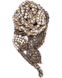 Rochas - Crystal-embellished Rose Brooch - Lyst