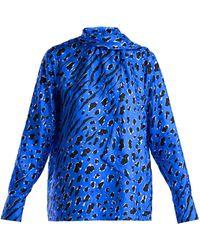 Valentino - Leopard-print Silk Blouse - Lyst