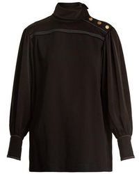Sonia Rykiel - High-neck Crepe Shirt - Lyst