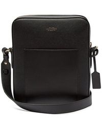Smythson - Panama Reporter Leather Cross-body Bag - Lyst