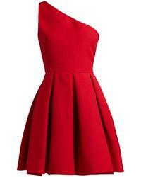 Valentino - One-shoulder Wool-blend Skater Dress - Lyst