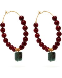 Elise Tsikis - Aduana Beaded Hoop Earrings - Lyst