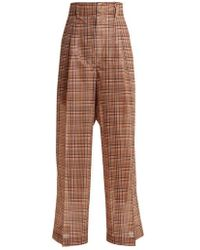 Toga - Wide-leg Checked Mesh Trousers - Lyst