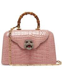 Gucci - Thiara Bamboo Handle Crocodile Leather Bag - Lyst