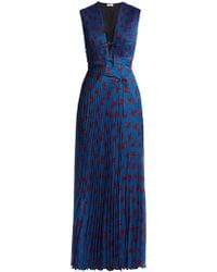 Raquel Diniz - Mika Floral Print Pleated Silk Dress - Lyst