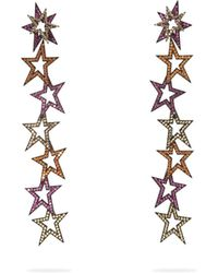 Lynn Ban - Staggered Stardust Sapphire & Rhodium Earrings - Lyst
