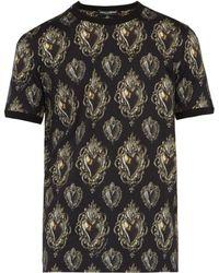 Dolce & Gabbana - Sacred Heart Printed Cotton T Shirt - Lyst