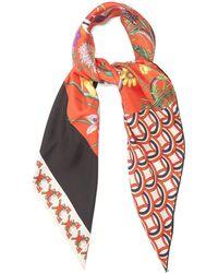 Gucci - Patchwork-print Silk-twill Scarf - Lyst