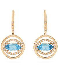 Susan Foster - - Diamond, Topaz & Yellow Gold Earrings - Womens - Gold - Lyst