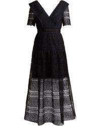 Self-Portrait - Spiral Panel Lace Midi Dress - Lyst