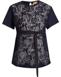 N°21 - Lace-panelled Cotton T-shirt - Lyst