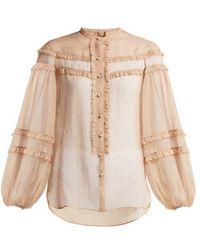N°21 - Star-print Ruffled Silk Blouse - Lyst