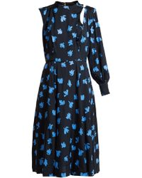 Toga - Floral Print One Sleeved Midi Dress - Lyst