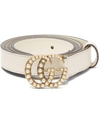 Gucci - Faux Pearl-embellished GG-logo 2cm Leather Belt - Lyst