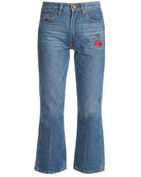 Bliss and Mischief - Cherry-embroidered Mid-rise Flared Cropped Jeans - Lyst
