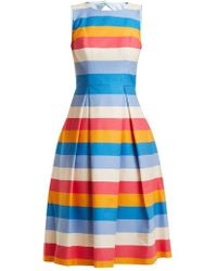Carolina Herrera - Multicoloured Striped Cotton-blend Dress - Lyst
