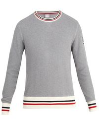 Moncler - Crew-neck Waffle-knit Cotton Sweater - Lyst