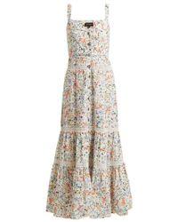 Saloni - Fara Floral-print Tiered Cotton Dress - Lyst