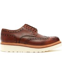 Grenson - Archie Raised-sole Leather Oxford Brogues - Lyst