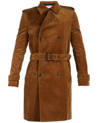 Saint Laurent - Double-breasted Corduroy Trench Coat - Lyst
