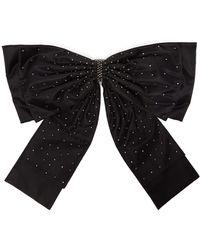 Erdem Crystal Embellished Oversized Bow Belt - Black