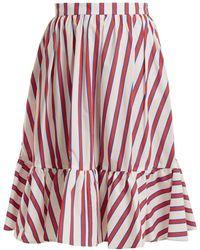 MSGM - Striped Cotton-poplin Skirt - Lyst