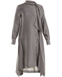 See By Chloé - Striped Asymmetric Crepe Midi Dress - Lyst