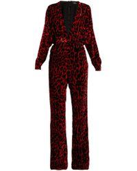 Balmain - Leopard-print Wide-leg Velvet Jumpsuit - Lyst